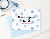 Personalized Baby Stationery, Personalized baby note cards, Bowtie stationery, Polka Dot personalized newborn stationery, Set of 10