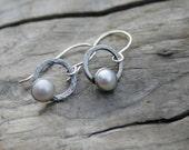 Rustic White Pearl and Sterling Silver Bezel Set Dangle Earrings. Handmade sterling ear wires, ear hooks. June Birthstone earrings