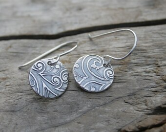 Sterling and Fine Silver Botanical Curl Dangle Earrings. Curly Vines with Antiqued Finish.