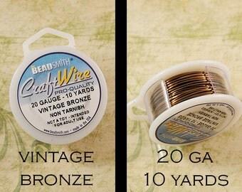 Vintage Bronze Wire - 20 Gauge - Beadsmith - Craft Wire - Non Tarnish - 10 Yards
