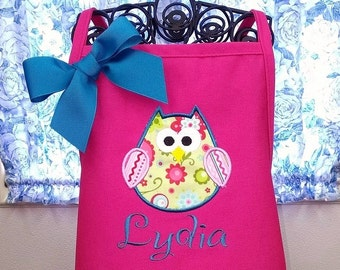 Kids Owl Applique Apron Personalized with Name