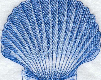 Embroidered Seashell hand towel