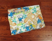 vintage 80s Smurf bed sheet 1980 bedding twin fitted rare tan mushroom print Smurfs fabric sewing project bright color Lucky 7
