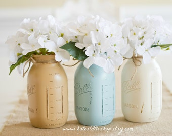 Set of 3 Quart Size Painted Mason Jars. Shabby Blue/Cream/Tan. Wedding Decor. Home Decor. Spring. Housewarming. Cenerpiece. Nursery Decor.