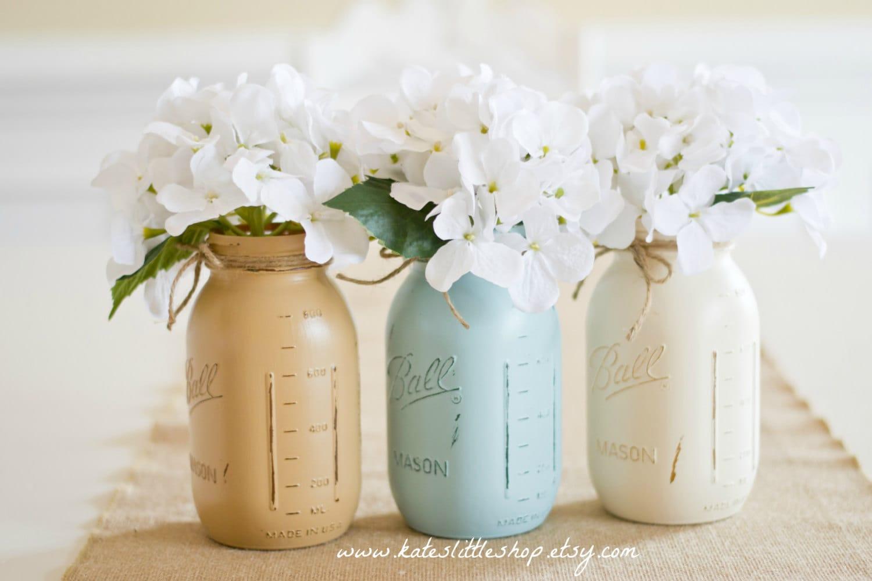 painted mason jars vintage looking home decor distressed set of 3 quart size painted mason jars shabby blue cream tan