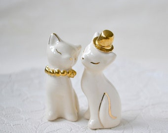 Cat cake topper, wedding cake topper, gold/silver ivory - wedding, ceramic cat cake topper wedding, bride and groom cats - wedding keepsake