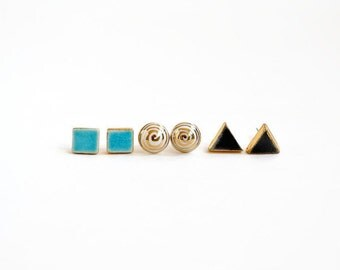 Royal ceramic post set - set of 3 stud earrings - nautical earrings gift set - aqua, gold, deep ocean and aqua - Jasmin Blanc studio