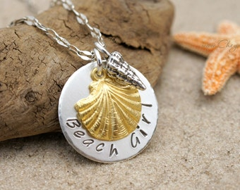 BEACH JEWELRY, Beach Girl Necklace, Fine Silver and Sterling Silver Sea Shell Necklace, Hand Stamped Personalized Beach Necklace by Cheydrea