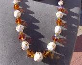 Madeira Topaz Caramel Drizzles Vintage Glass Necklace