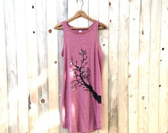 Cherry Blossom Dress, Summer Dress, Tank Dress, S,M,L,XL