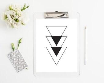Abstract geometric print, wall hanging, graphic, black and white, home decor, printable wall decor, art print, triangles, modern, minimalist