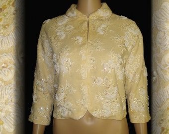 Vintage 1950s Sweater  . Regalia . Sequins .  Seed Beads New Look Rockabilly Mad Men Garden Party Couture