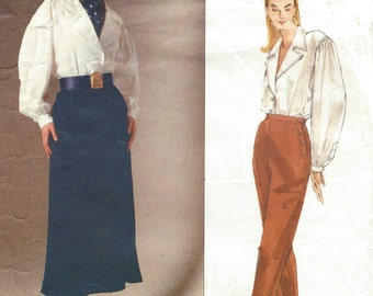 90s Ralph Lauren Womens Artist Blouse, Maxi Skirt and Tapered Pants Vogue American Designer Pattern 2528 Size 6 8 10 Bust 30 1/2 to 32 1/2