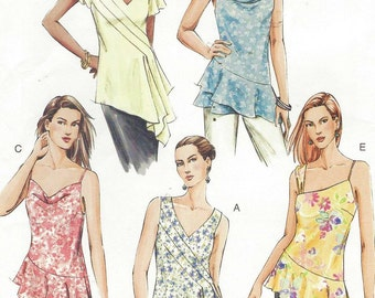 Womens Bias Cut Summer Tunics OOP Vogue Sewing Pattern V7878 Size 6 8 10 Bust 30 1/2 to 32 1/2 UnCut Summer Top Patterns