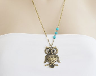 Owl Necklace, Owl Jewelry Necklace, Large Owl Pendant, Feather Owl Necklace, Kawaii Owl, Geekery, Charm Owl, Matching Necklace, Layering