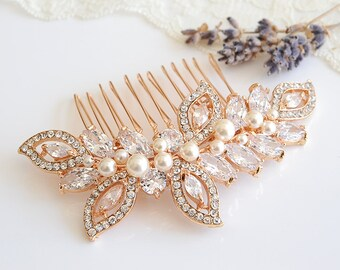 Rose Gold Wedding Hair Comb, Crystal Leaf Wedding Hairpiece, Bridal Hair Comb, Swarovski Pearl Bridal Headpiece, CZ Hair Clip, AUGUSTINA