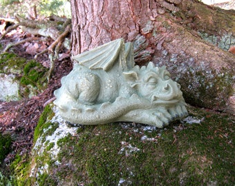 Dragon Statue, Concrete Dragons, Medieval Monster, Large Cement Dragon, Garden Decor, Petes Dragon, Gothic Statue, Concrete Garden Statue