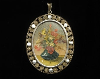 """Dried Flower Pendant Fantastic Art Gilt Filigree .800 Silver 2.4"""" Long Mother of Pearl Accents"""