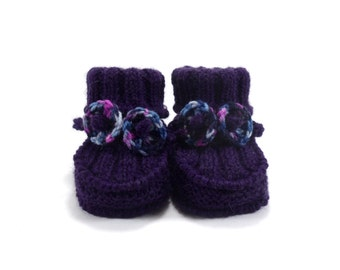 Knitted Baby Booties - Purple, 3 - 6 months