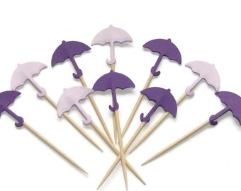 24 Umbrella Party Picks in Lilac and Purple—Food Picks-Cupcake Toppers- Party Picks-Gender Neutral