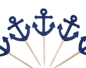 24 Navy Blue Anchors- Party Picks-Cupcake Toppers-Food Picks