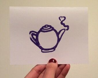 Purple Teapot Linocut Card