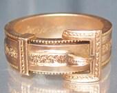 Antique Victorian Secret Hair Compartment BUCKLE 14K Ring