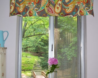 Kitchen Curtain - Valance .  Paisley Whimsey Mardi Gras by Covington .  Beautiful Handmade by SeamsOriginal