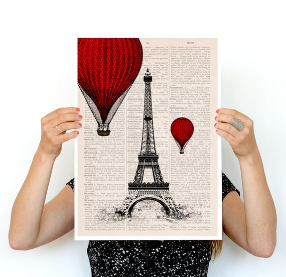 Christmas Sale Eiffel tower and ballon ride poster, paris art, Wall art r, French art poster, Giclee poster, Paris  TVH027PA3