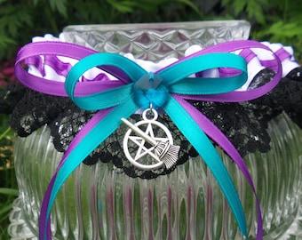 Custom Color, Witch's Broom Handfasting Pagan Wicca Druid Wedding Bridal Garter In Satin Black Lace, Prism Crystal Pentacle Broom Charm