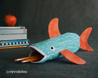 Shark Pencil Case by MinneBites / Girls School Supplies - Handmade Toddler Toy Bag - Turquoise Coral Fish Purse - Kids Bag - Ready to Ship