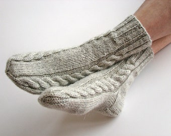 Hand Knitted Braided Cable Socks - 100% Natural Not Dyed Wool - Warm Organic Clothing