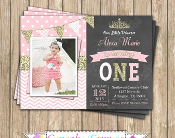 Princess First Birthday girl coral pink gold PRINTABLE chalkboard Invitation #13  chevron polka dot glitter 1st birthday 1030
