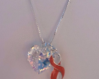 Leukemia awareness necklace - MS Awareness-  Motorcycle Awareness Jewelry - leukemia awareness ribbon - leukemia Jewelry - orange awareness