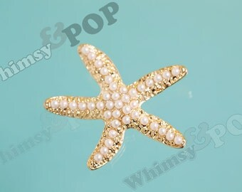 1 - Large Gold Tone Pearl Starfish Pendant Charm, Starfish Alloy Charm, Starfish Pendant, 40mm x 45mm (3-5C)