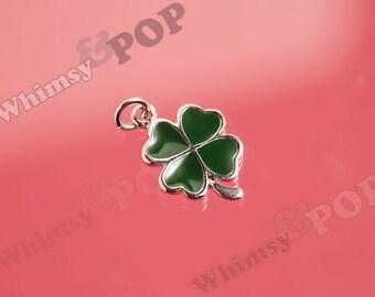 1 - 4 Leaf Clover Dark Green Clover Four Leaf Clover Charm, Clover Charm, Good Luck Charm, 18mm x 12mm (1-1J)