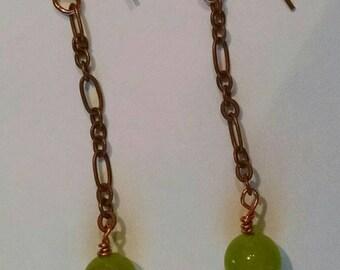 Green Jade Copper Chain Dangle Earrings