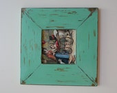 Hand Painted Rustic Shabby Chic Antique Vintage Distressed Mint Green & Gold Square Picture Photo Frame