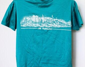 San Francisco T Shirt Mens Medium Unisex Womens USA Tourist City SF California Boxy Cropped 49ers Giants