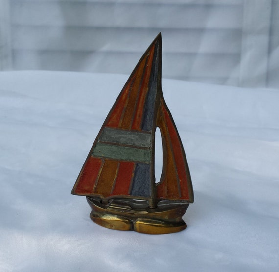Https Etsy Com Listing 238382435 Brass Sailboat Paperweight Home Office