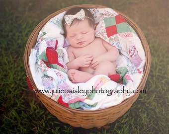Vintage Lace Baby Bow Headband-newborn baby toddler girls photo prop