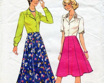 1970s Blouse and Skirt Pattern Style 4993 Vintage Sewing Pattern Boho Maxi or Knee Length Flared Skirt & Shirt Bust 38 Plus Size