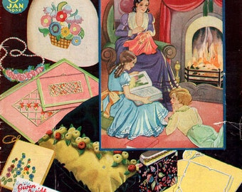 1930s Good Needlework Magazine January 1932 Edition Vintage Knitting Embroidery Fiction Sewing Advertisements Art Deco Fashion