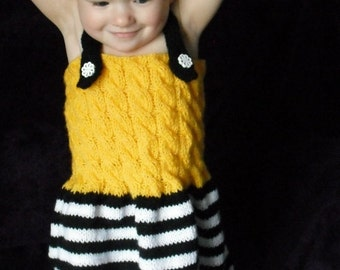 Black and White Baby Dress - Yellow Dress - Baby Dress - Knitted dress - 9 - 15 months - Ready to ship