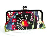 Fairies and Flowers Clutch - Orange, yellow, red, black, green and blue - Gunmetal kisslock frame with chain