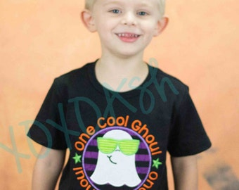 Boys Ghost or Ghoul Shirt--One Cool Ghoul--Halloween Shirt--Embroidered appliqued shirt or bodysuit