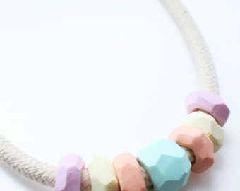 Color Revolution,  Polymer Clay Necklace, Rainbow Colour, Pastel Color Necklace Aqua, Peach, Vanilla and Rose Cord Necklace