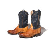 7.5 D | Tony Lama Ostrich Western Boots Round Toe Blue & Orange Ropers