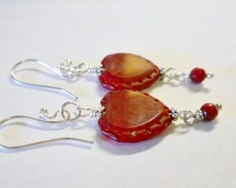 Dangle Earrings, Red Heart Czech Glass  Hearts, Ruby Red,  Romantic,