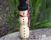 CIJ, snowman, hand painted, winter decor, snowman decor, Christmas, made from wood